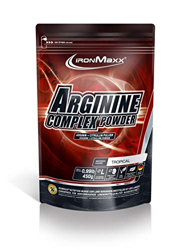 IronMaxx Arginine Complex Powder - 450g Beutel - Tropic - 64 Portionen - 3750 mg L-Arginin + 1000 mg L-Citrullin pro Portion - Wasserlösliches Pulver - Designed in Germany