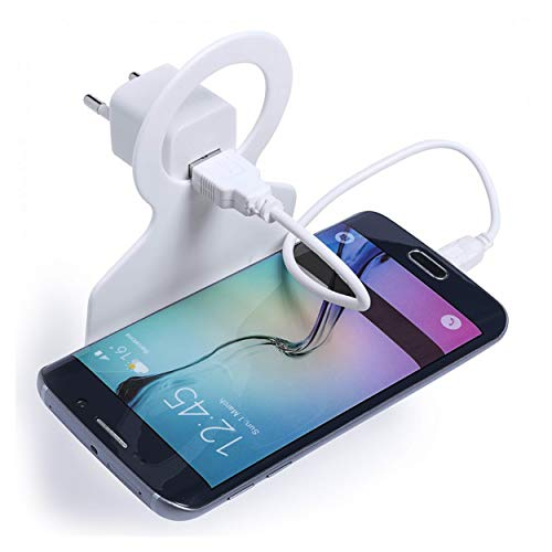 Oramics Handyhalterung für Steckdose in Weiß, Ladestation Halterung für Ihr Handy, Ladehalterung mit Haken für Smartphone, Ladehalter für Handys und Smartphones
