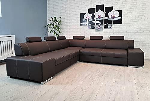 London II RE 6z - Sofá esquinero de piel auténtica, color marrón oscuro, 277 x 277 cm, con función de cama, cajón y reposacabezas, piel auténtica con costuras decorativas, color marrón oscuro