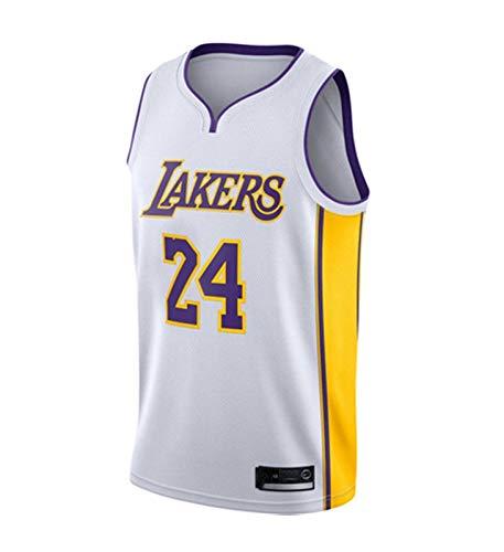 AMJUNM Camiseta para hombre y mujer – Lakers 24# Kobe Bryant Jerseys transpirable bordado baloncesto Swingman Jersey (color: blanco, talla: L)