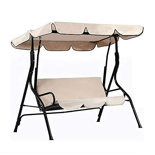 """Iptienda Outdoor Patio Canopy Swings, 4-Seater Heavy Duty Canopy Replacement Cover Waterproof Anti-UV Sun Shade for Part Bench Garden Porch Furniture Beige (75""""(L) x 47""""(W) x5.5(H)"""