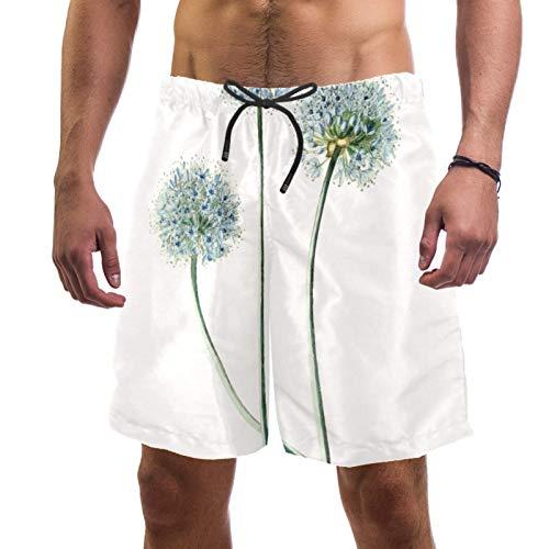 LORVIES Hand Drawn Dandelion Flower - Bañador para hombre, secado rápido, talla L multicolor S