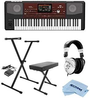 Korg Pa700 61 Keys Velocity Sensitive Professional Arranger Keyboard - Bundle With On-Stage KPK6520 Keyboard Stand/Bench Pack with Sustain Pedal, Behringer HPS3000 HP Studio Headphones, Cloth