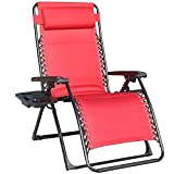 GOLDSUN Comfortable Oversize XL Padded Zero Gravity Lounge Heavy Duty Adjustable Patio Recliner Chair with Cup Holder Support 350lbs,Red