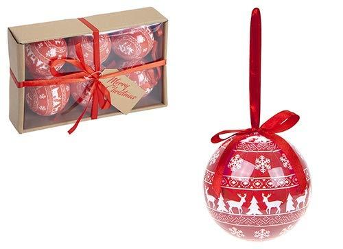 Toyland Confezione da 6-80mm Palline per Albero di Natale Decorate in Polyfoam Stile Nordico Rosso e Bianco Metallizzato