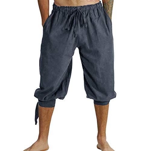 kunfang Hombres Vintage Pantalones Harem Suelto Estilo Chino 3/4 Capri Pantalón con Cordones Victoriano Disfraz de Pirata Corto Color Liso Lino Splice Pants Marrón Negro Verde Gris