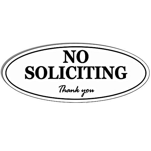 "Oval NO Soliciting Sign - Self Adhesive 2"" x 5"" 4 Mil Vinyl Decal -Indoor & Outdoor Use, Home & Business UV Proof & Waterproof Window & Door Decal"