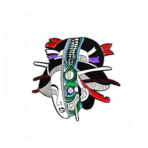 wangk Brosche Horror Frauen Geisha Skelett Maske Abzeichen Retro Emaille Stifte Japan ethnische Schmuck Zubehör