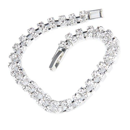 Colcolo Pulsera Elástica de 2 Filas de Diamantes de Imitación de Cristal Nupcial de Plata para Bodas