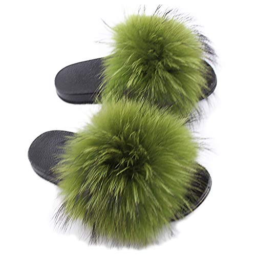 Yu Li Womens Luxury Real Raccon Fur Slippers Slides Indoor Outdoor Flat Soles Soft Summer Shoes