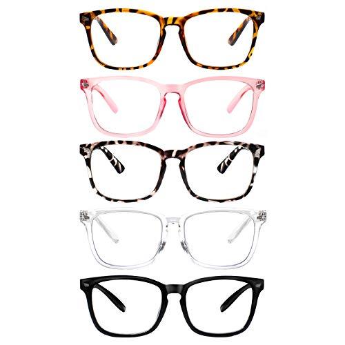 5 Pack Blue Light Blocking Reading Glasses,Spring Hinge Computer Readers for Women Men,Anti UV Ray Filter Nerd Eyeglasses (Mix, 1.50)