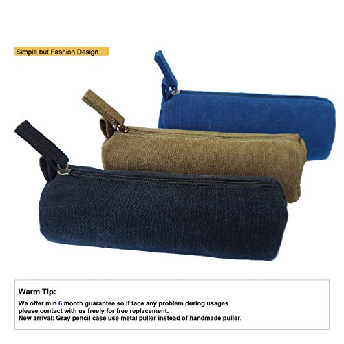 EnYu Heavy Canvas Stationery Portable Stylish Simple Pencil Bag and Practical Durable Compact Zipper Pencil Case 1 Pack Black Photo #2