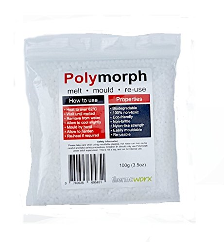 Thermoworx Polymorph 100g | Hand mouldable eco-friendly thermoplastic. Re-usable unlimited uses - DIY, Crafts, Repairs, Moulds, Casting, Plastic adhesive, Modelling, Grips, Prototypes. TOP QUALITY!