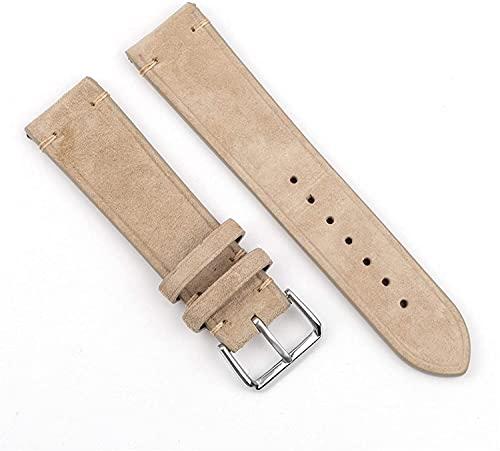 Correa de reloj hecha a mano 18 mm 20 mm 22 mm 24 mm Vintage Correa de cuero Reemplazo Tan beige para hombres y mujeres Relojes Casual, cómodo transpirable ( Color : Beige no side wire , Size : 18mm )