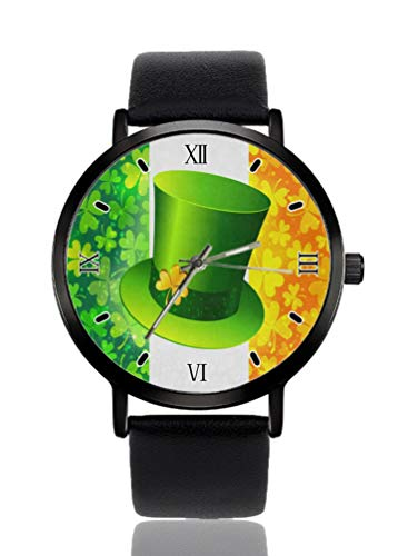 Leprechaun Hut Kleeblatt Damen Armbanduhr Ultra Dünn Gehäuse Extrem Einfache Analog Armband Damen Ultra Dünn Armbanduhr Japanisches Quarzwerk