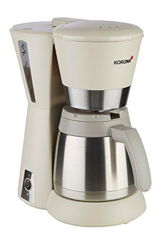 Korona 10225 Kaffeemaschine sand-grau/creme – Filter-Maschine, mit Thermoskanne, 8 Tassen, 800 Watt