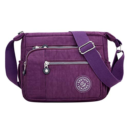 Calvinbi Taschen Damen Umhängetasche Messenger Bag Handtasche Sporttasche Reisetasche Schwarz Reißverschluss Einfarbig Einfach