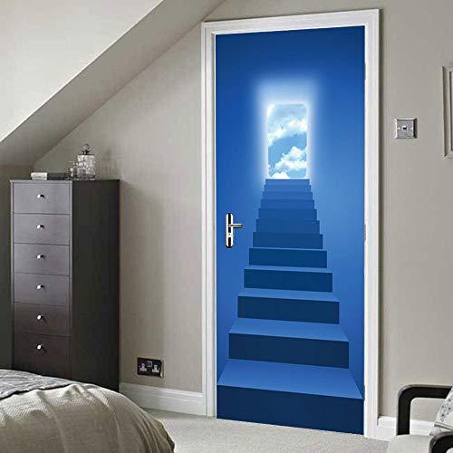 Deursticker Creatieve Muursticker 3D Stereo Ladder Gepersonaliseerde Slaapkamerdeur Familie Decoratie Muurschildering-90X200Cm