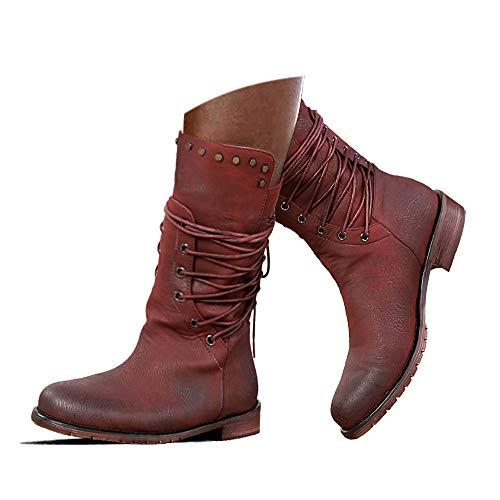 Hinyyrin Damen Reitstiefel Mittelkalb Stiefel Stiefel Retro Low Heel Schnürstiefel Reißverschluss Block Plattform Rotwein Größe 40