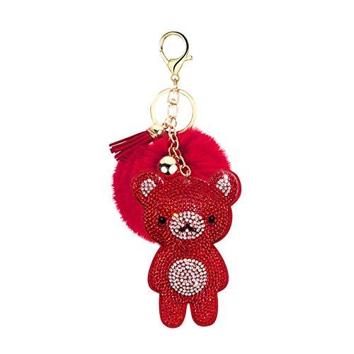 yqs Schlüsselanhänger aus Flanell, niedlich, romantisch, Pfirsichherz, Liebeskugel, kleiner Schlüsselanhänger, für Damentasche, Geldbörse, niedlicher Bären-Anhänger 8. Redbear