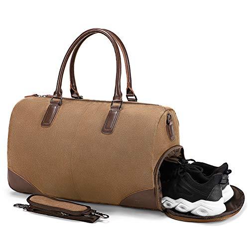 Fresion Retro sporttas, reistas voor heren, canvas reistassen met schoenenvak en 15-inch laptopvak, weekender, handbagage, tas met PU leer, schoudertassen voor dames en heren