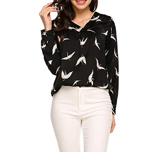 Comfy and Soft Material: Soft and comfortable fabric with good skin touch. A Nice Silky Feeling Against Your Skin Gently. Pretty Print Blouse: Unique bird print featured with V neck collar, makes the blouse very fashionable and sexy, adds more confid...