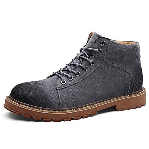 JCCOZ - URG - Botas de tobillo retro para hombre, estilo clásico, con cordones, cuero auténtico, resistente al desgaste, punta de giro bruñida, puntada URG (color: gris, talla: 44 EU)