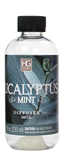 Hosley Aromatherapy Premium Eucalyptus Mint Reed Diffuser Refills Oil, 230 ml (7.75 fl oz) Made in USA. Bulk Buy. Ideal Gift for Weddings, Spa, Reiki, Meditation Settings W1