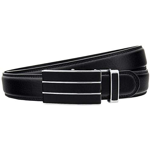 Miuno Cintura automatica in pelle nera HH-103-N Nero 115 cm