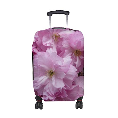 Cherry Blossom Pink Branch Close-up Spring Pattern Print Travel Luggage Protector Baggage Suitcase Cover Fits 18-21 Inch Luggage