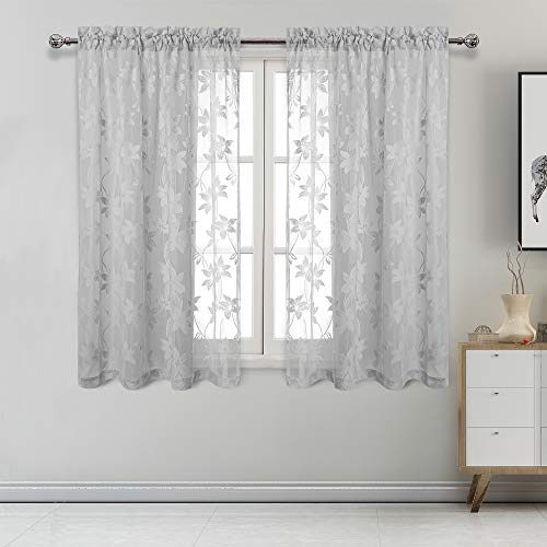 DWCN Floral Lace Sheer Curtains - Rod Pocket Window Voile Sheer Drapes for Bedroom Kitchen Short Curtains 52 x 54 inch Length, Set of 2 Grey Curtain Panels
