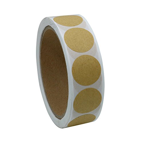 Hybsk Kraft Paper Stickers Packaging Seals 1 Inch Round Labels 500 Total Per Roll (1 roll)