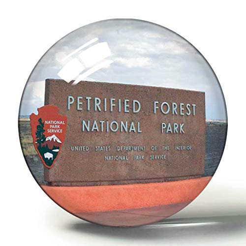Hqiyaols Souvenir Estados Unidos América Parque Nacional del Bosque Petrificado de Holbrook Arizona 3D Imán de Nevera Colección de Recuerdos Regalo de Viaje Círculo Cristal Imanes de Nevera
