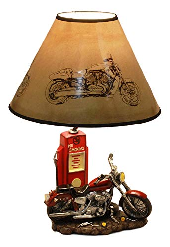 """Ebros Vintage Old Fashioned Retro Red Motorcycle by Classic Gas Pump Desktop Table Lamp 19""""Tall Nostalgic Highway Route 66 Road Runner Home Decor Shelf Mantlepiece Lighting Accent"""
