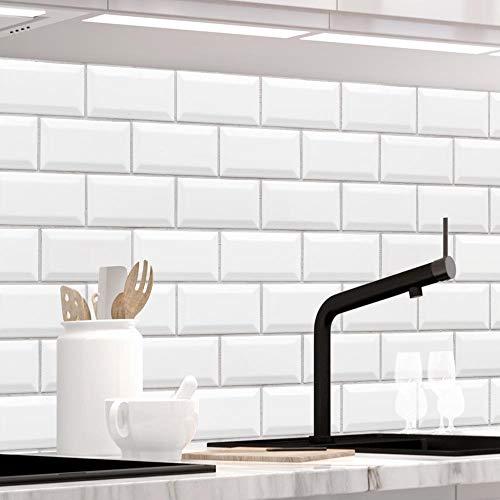 Küchenrückwand 1,5mm selbstklebend - WEISSE KACHELN - Hartkunststoff, alle Untergründe möglich, Spritzschutz, PREMIUM 60 x 400cm