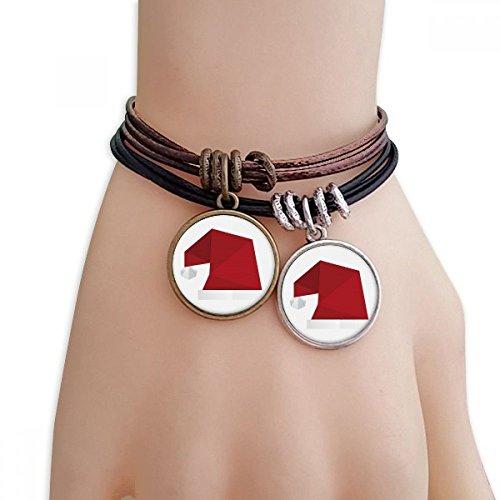 DIYthinker Damen Abstract Christmas Hut Origami Muster Armband Doppel-Leder-Seil-Armband Paar Set