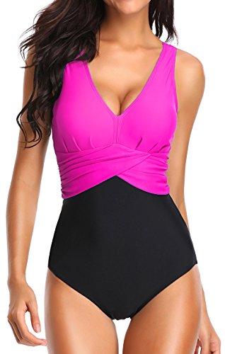 EUDOLAH Figurformender Damen mischfarbig Einteiler Badeanzug Schwimmanzug Bademode (2XL, rosarot)