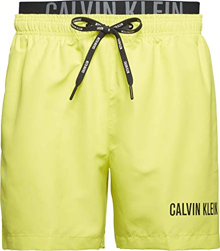 Calvin Klein Herren Medium Double Wb Badehose, Schwefelfeder, S