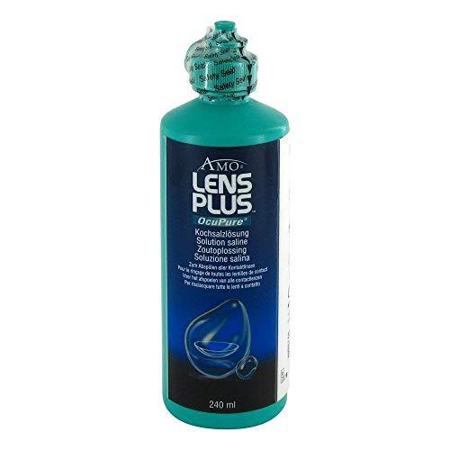 AMO Lens Plus OcuPure Saline – Sterile Kochsalzlösung zum Abspülen und Benetzen aller Kontaktlinsen – Ohne Konservierungsstoffe – 1 x 240 ml
