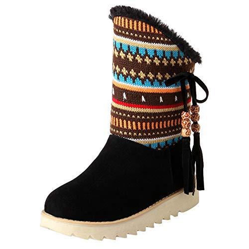 TIMEMEAN Frauen Retro Quaste Schnee Kurze Stiefel Damen Winter Folk-Custom Runde Schuhe