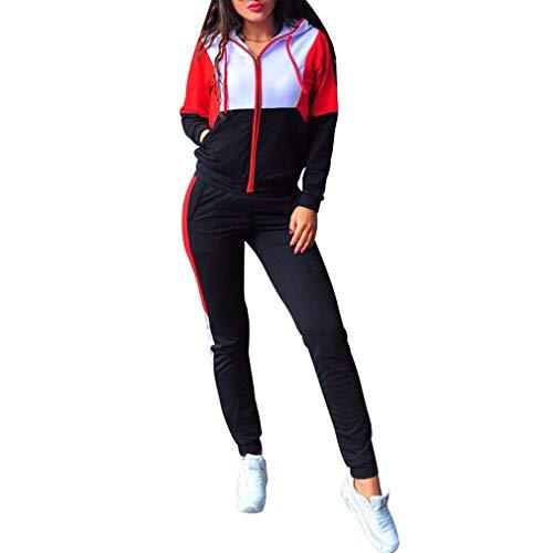 JiXuan Casual Mujeres Sudaderas con Capucha Deportes Conjunto 2pcs Sudadera con Capucha Trajes Chándales Pantalones de Chándal