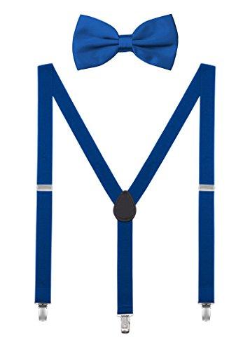 DEBAIJIA Conjunto Tirantes y Pajarita Para Hombre Mujer Elástica Y Forma Ajustable Unisex 2,5 cm Ancho Azul rey