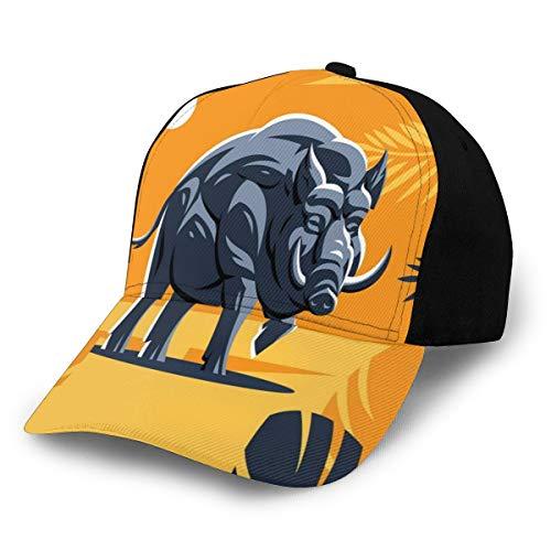 GULTMEE Men Women Adjustable Baseball Cap Hat Strong Wild Hog Boar with Tropical Leaves