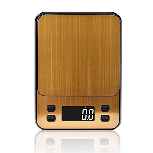 Básculas de cocina Báscula Digital De Cocina, 10kg/22 Lbs Balanza Alimentos Multifuncional Báscula Electrónica Alta Precisión Con Retroiluminación (Color : Gold, Size : 5kg/0.1g/)