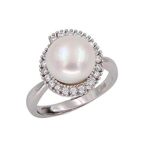 Luna Azure Perla dacqua dolce, anello con zirconi cubici in argento sterling 925, gioielli da donna per ragazze (10,0 - 10,5 mm)