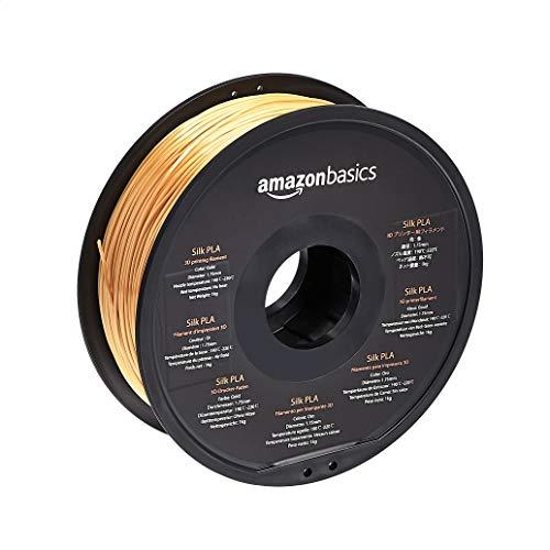 Amazon Basics – 3D-Drucker-Filament aus SILK-PLA-Kunststoff, 1,75mm, 1-kg-Spule, goldfarben