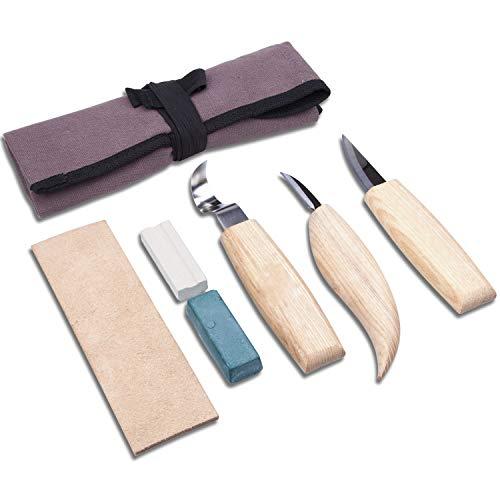 Momoco Herramientas de Talla de Madera, Kit de Tallado en Madera 7 Piezas Juego de Cuchillos de Talla de Madera con una Bolsa de Lona Portátil, los Cuchillos de Talla Ideales Para Carpintería