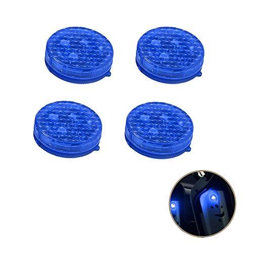 Onerbuy 4 Stück Universal Auto Tür Warnlicht Anti-Kollision LED Sicherheitsleuchte Stroboskop Blinken Offen Reflektor Lampe Auto On/Off mit 3 Blinkmodi, blau