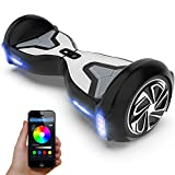 TOMOLOO Hoverboard with Bluetooth and Lights, Smart APP Hover Board with UL2272 Certified, 6.5 Inch Two Wheel Hoover Board for Kids and Adults