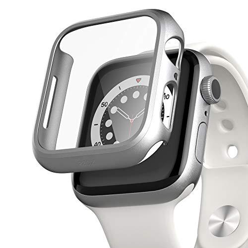 PZOZ Hülle Kompatibel mit Apple Watch Series 6/SE/5/4 40mm mit PET Bildschirmschutz, iWatch Sehr stark PC Schutzhülle, All-Aro& Schutz Hülle für Apple Watch Series 6/SE/5/4 40mm (Silber)
